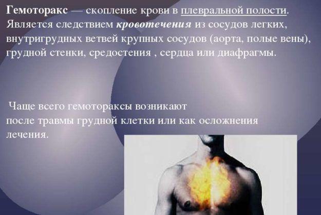 Наличие крови в плевральной полости
