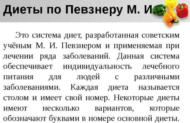 Диеты М И Певзнера.